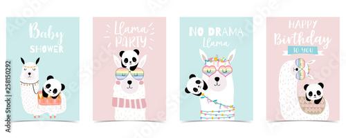 pastel baby shower invitation card with llama and panda Canvas Print