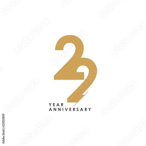 22 year Anniversary Logo Vector Template Design Illustration Wallpaper Mural