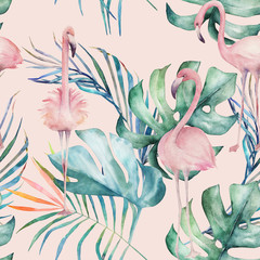 Fototapeta Romantyczny Tropical seamless pattern with flamingo and leaves. Watercolor summer print. Exotic hand drawn illustration
