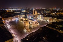 Aerial Drone View On Cracow Ma...