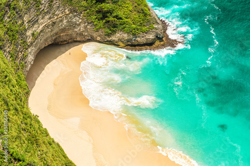 Wall Murals Green coral Lonely sand beach sea water Summer holidays travel background