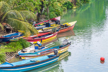 Colorful Fishing Boats Docked ...