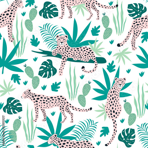 Seamless pattern with leopards and tropical leaves. Vector Fototapete