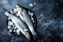 Fresh Raw Seabass Fish On Black Stone Background With Ice. Culinary Seafood Background. Top View, Copy Space