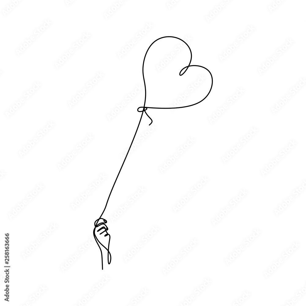 Fototapeta continuous line drawing of hands and love.