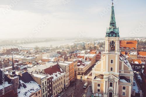Cuadros en Lienzo Top view of the old historical city of Torun, Poland