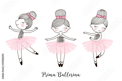 Set Of Cute Little Dancing Cartoon Ballerina Doll Characters In Pink Transparent Ballet Skirts Simple Linear Vector Graphic Illustration Isolated On White Perfect For Girlish Design T Shirt Buy This Stock