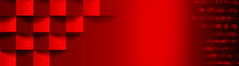 Bright, Red Pho With The Image Of Volumetric Cubes