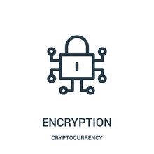 Encryption Icon Vector From Cryptocurrency Collection. Thin Line Encryption Outline Icon Vector Illustration.
