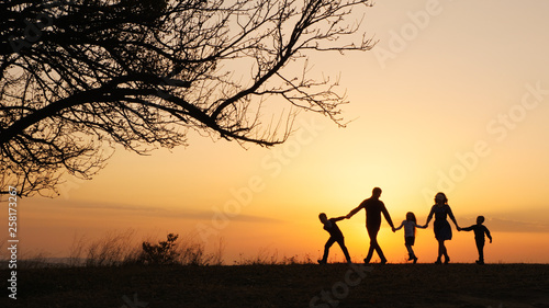 Poster Marron chocolat Silhouettes of happy family walking together in the meadow during sunset