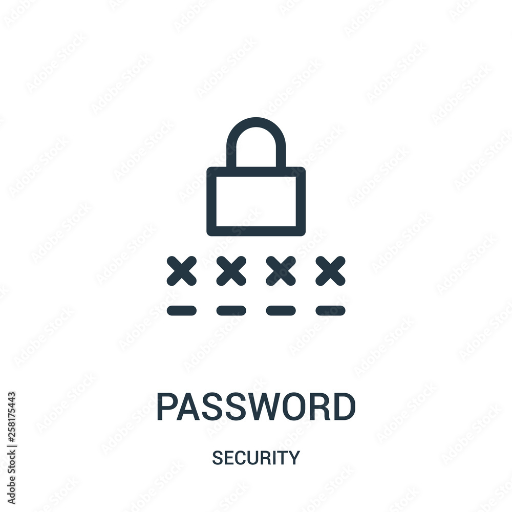 Fototapeta password icon vector from security collection. Thin line password outline icon vector illustration.