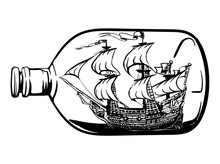 Ship In A Bottle Tattoo Hand Drawn Ink Sketch Stock Vector Illustration