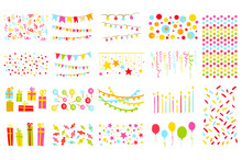 Party Elements Big Set, Pennants, Flags, Garlands, Candles, Balloons, Presents, Stars Colorful Vector Illustration
