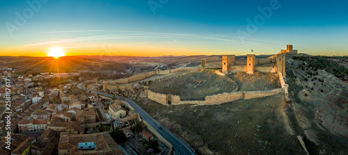 Canvas Print Molina de Aragon classic medieval Spanish ruined castle aerial panorama view at