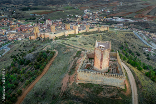 Fotomural Molina de Aragon classic medieval Spanish ruined castle aerial panorama view at