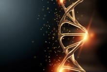 Creative Background, Dna Structure, Golden DNA Molecule On Gray Background, Ultraviolet. 3d Render, 3d Illustration. The Concept Of Medicine, Research, Experiments, Experiment, Virus, Disease.