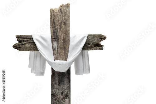 Fotomural Easter cross isolated on white. He is risen concept.