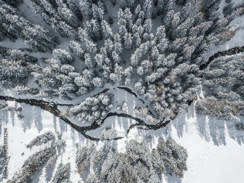 Aluminium Prints Forest river Aerial view of river thorugh snow covered forest in calm scene