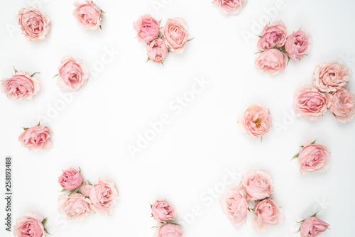 Small Pink Roses Flat Lay  Stationery  Background Fototapeta