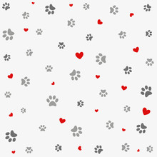 Seamless Background With Heart  And  Footprint, Paws