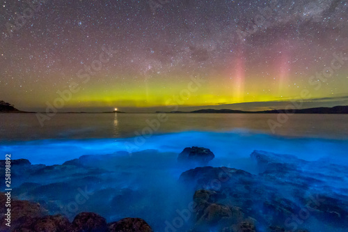 Photo Amazing blue bioluminescence with the aurora australis or Southern Lights dancing in the sky above