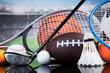 Sport equipment and balls, stadium background