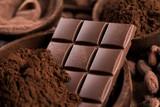 Fototapeta Zwierzęta - Chocolate bar, candy sweet, cacao beans and powder