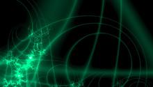 Fantasy Pattern For Decoration Design. Digital Technology Design In Neon Green Fractals On Black Background
