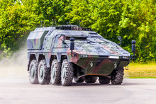 German Armoured Carrier, From German Army, Drives On A Road