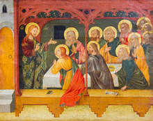 Pavia, Italy. 2017/11/11. The Painting Of The Resurrected Jesus Christ With His Apostles In The Cenacle. Second Half Of XV Century. Currently In Castello Visconteo.