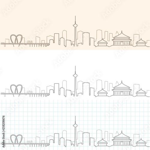 Fotografie, Obraz Shenyang Hand Drawn Skyline