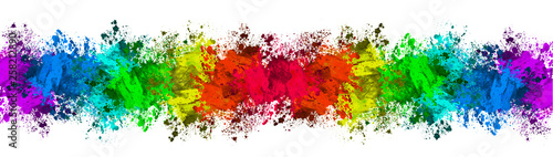 Fotografia, Obraz  Multi-Color Paint Splatter Border/Background