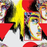 Seamless pattern with greek sculptures. Men's faces. Stylish colorful background. pop art, modern antiquity. - 258215632
