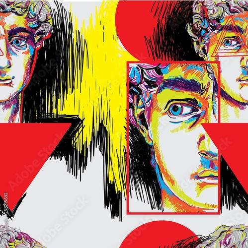 Tapety do pokoju młodzieżowego  seamless-pattern-with-greek-sculptures-men-s-faces-stylish-colorful-background-pop-art
