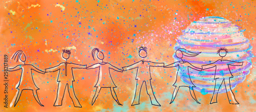 Community concept background. Painting on canvas Wallpaper Mural