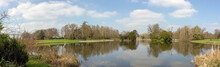 Panoramic View Of Octagon Lake In Stowe, Buckinghamshire, United Kingdom