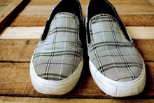 Stylish Shoes On A Wooden Floor