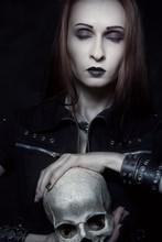 Heavy Metal Girl With Skull