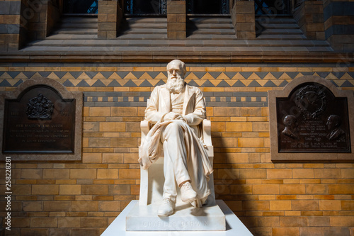 Canvas Print Statue of Sir Charles Darwin at The Natural History Museum in London