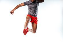 Jumping Man Wearing Stylish And Comfortable Sportswear