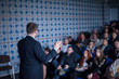 successful businessman giving presentations at conference room