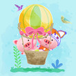 cute pigs with air balloon. Can be used for kids/babies shirt design, fashion print design,t-shirt, kids wear,textile design,celebration card/ greeting card, invitation card - Vector