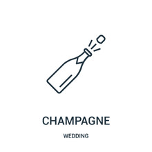 Champagne Icon Vector From Wedding Collection. Thin Line Champagne Outline Icon Vector Illustration.