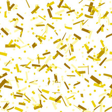 Gold Confetti Dots And Stripes Seamless Pattern On White Background