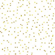 Gold Tiny Confetti Dots Seamless Pattern On White Background