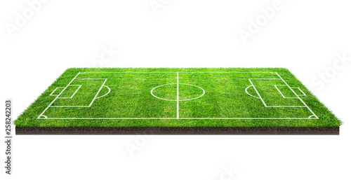 Fotomural Football field or soccer field on green grass pattern texture isolated on white background with clipping path