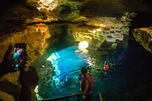 The Blue Well Is One Of The Most Popular Tourist Spots Of The Chapada Diamantina, Where It Is Possible To Float In The Crystal Clear Waters