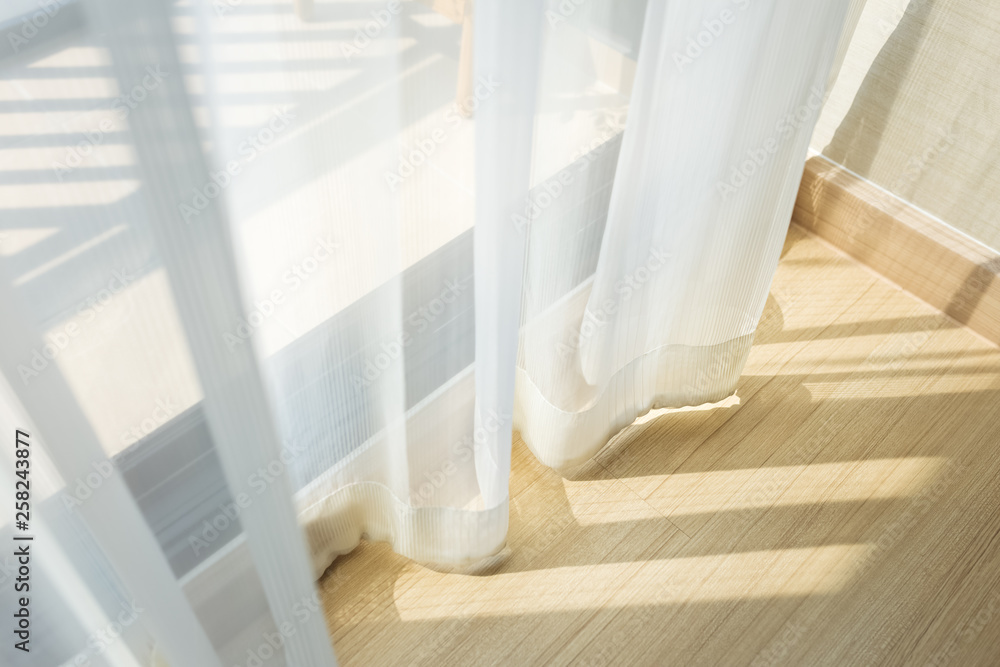 Fototapety, obrazy: morning sunlight through curtain in room