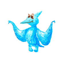 Blue Dinosaur Pterodactyl With Long Beak And Big Wings On White Background Isolated In Watercolor Style