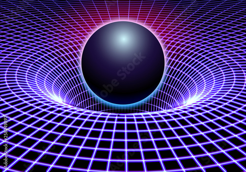 Black hole or gravity grid with glowing ball or sun in 80s synthwave and style